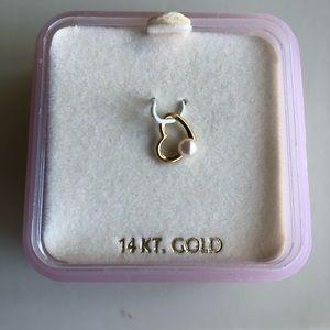 Jewelry - 14k gold mini Floating Heart Pendant w Pearl